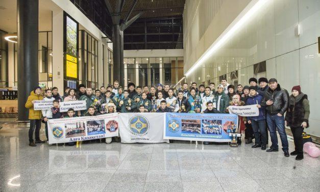 30  января в Астану прилетели участники и тренерский состав после успешного выступления на Чемпионате Мира, прошедший 27  января в Украине в  городе Одесса