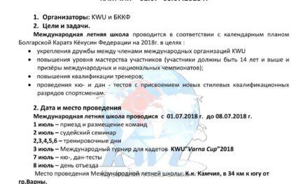 ПОЛОЖЕНИЕ ЛЕТНЕЙ ШКОЛЫ КИОКУШИН КАРАТЭ «КАМЧИЯ 2018»